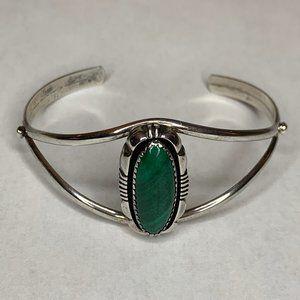Sterling 925 Malachite (L. Yazzie) Cuff Bracelet